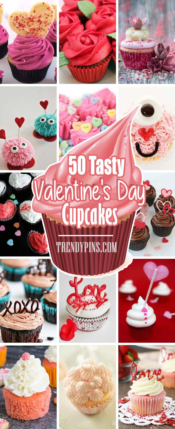 Love is in the air and valentines day right around the corner. Cupcakes are a staple of this love filled holiday. Check out these cute designed cupcakes perfect for your significant other. #Valentine's Day #recipes #cupcakes #trendypins
