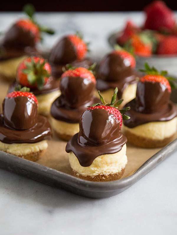 Chocolate Dipped Strawberry Cheesecake #Valentine's Day #recipes #desserts #trendypins