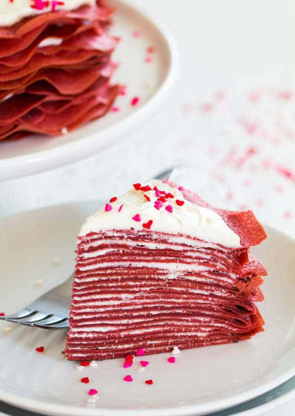 Red Velvet Crepe Cake #Valentine's Day #recipes #cakes #trendypins
