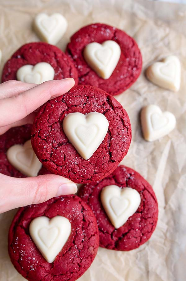 Red Velvet Sugar Cookies With White Chocolate Valentines Hearts 1