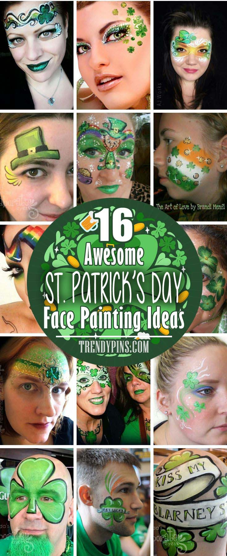 Face painting is one of the most artistic ways to express your personality and it is the most influential way.Here are some awesome ideas of unique St. Patrick`s day face painting. #St. Patrick's Day face painting #beauty #trendypins