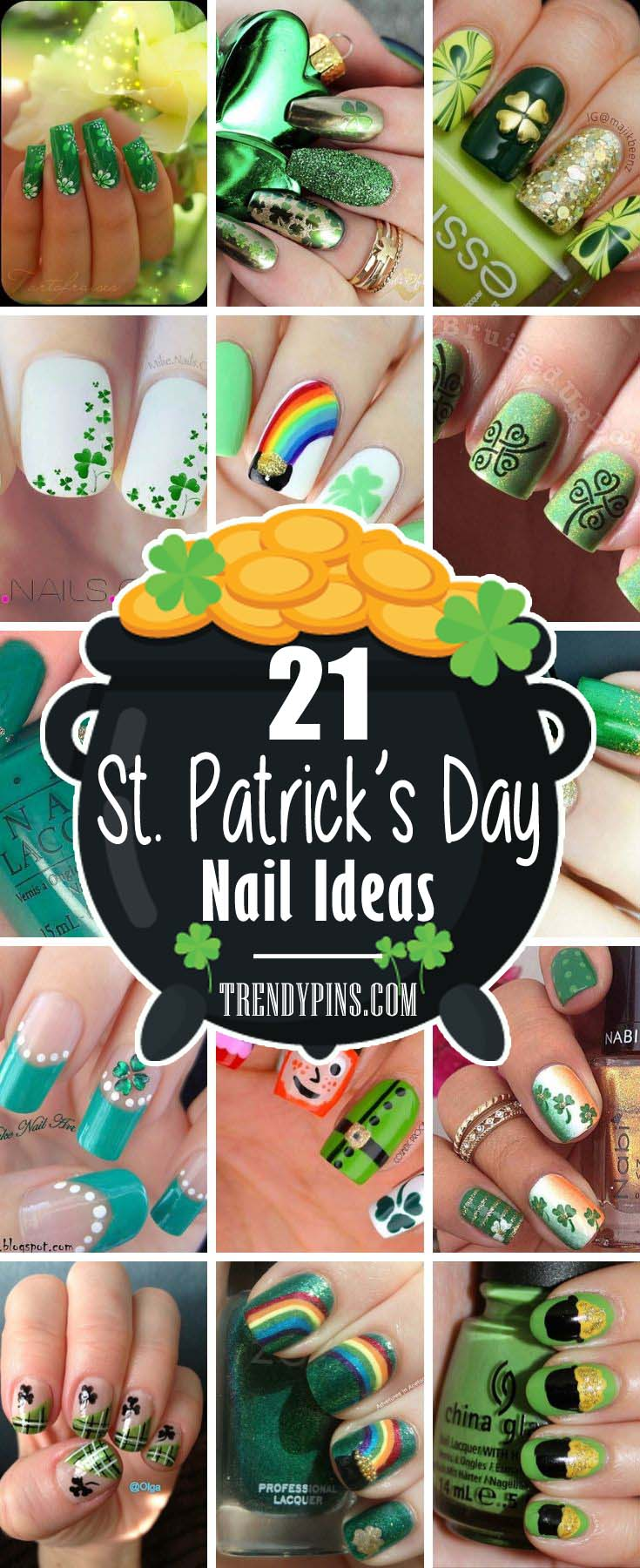 If you're having a hard time finding the coolest nail ideas to rock for this St. Patrick's Day, you will be happy to see these. There's a great variety of St Patrick day nails. #St. Patrick's Day nails #nails #beauty #trendypins