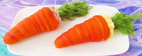 Crescent Roll Carrots Filled with Egg Salad#Easter #appetizers #recipes #trendypins