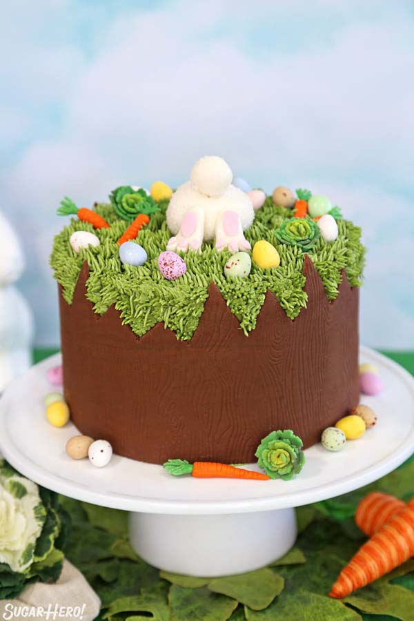 Cute Chocolate Easter Bunny Cake #Easter #cakes #recipes #trendypins