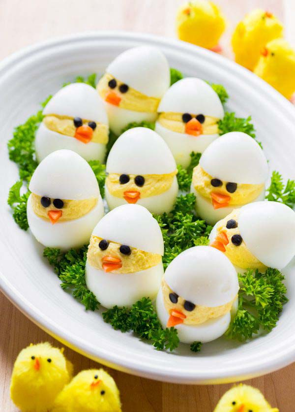 Deviled Egg Chicks#Easter #appetizers #recipes #trendypins