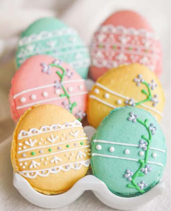 Easter Egg Macarons #Easter #dinner #recipes #trendypins