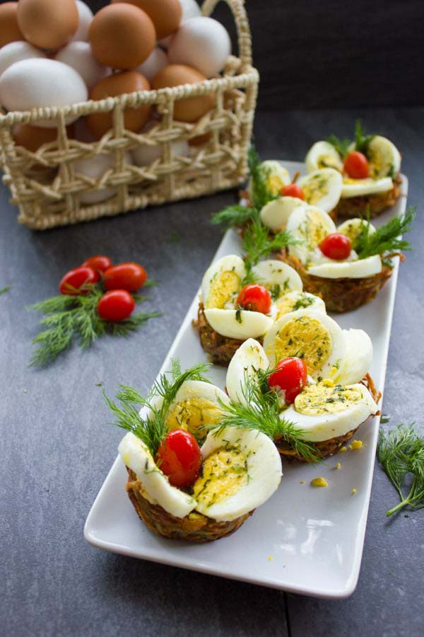 Easter Egg Tart Potato Nests#Easter #appetizers #recipes #trendypins