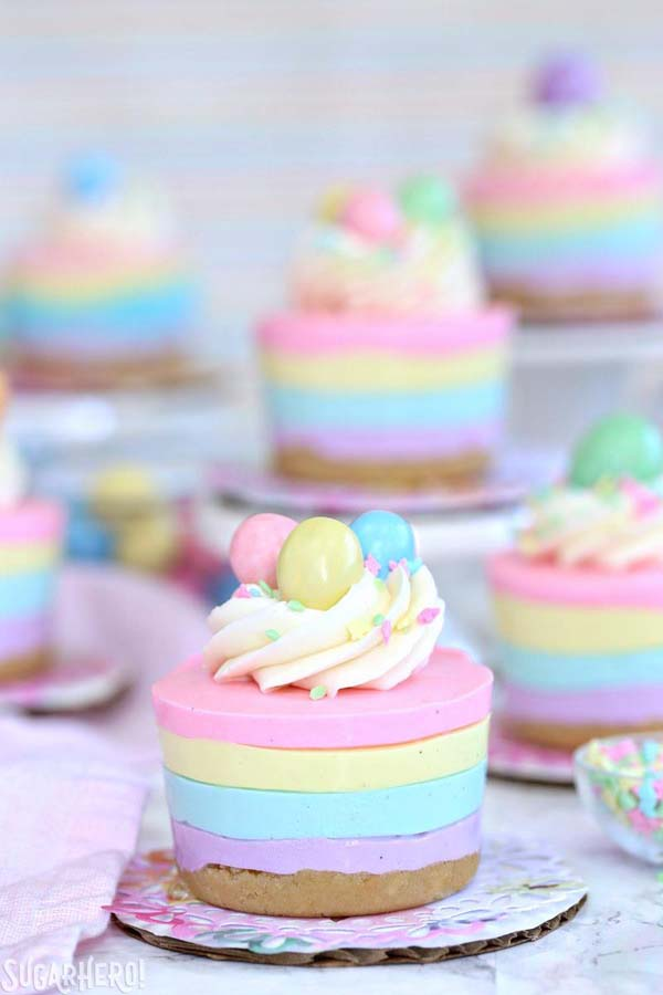 Easter No Bake Mini Cheesecakes #Easter #desserts #recipes #trendypins