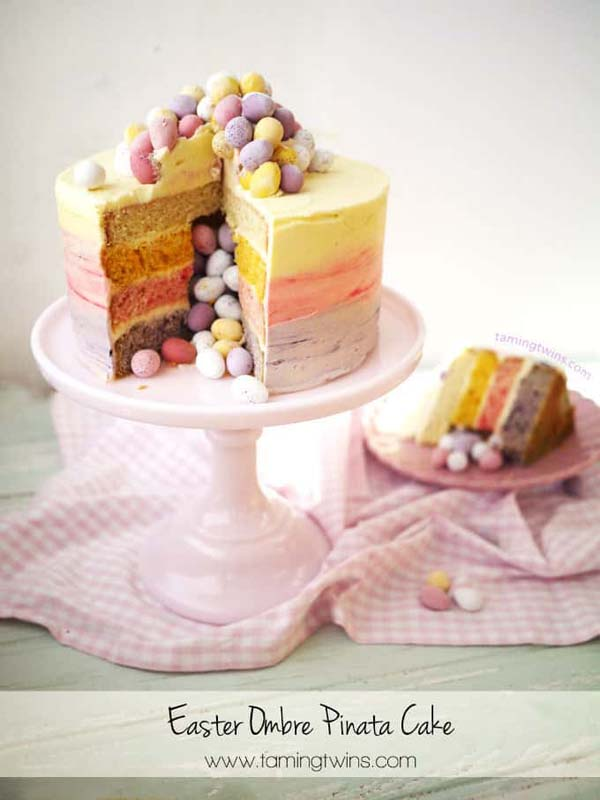 Easter Ombre Piñata Cake #Easter #cakes #recipes #trendypins