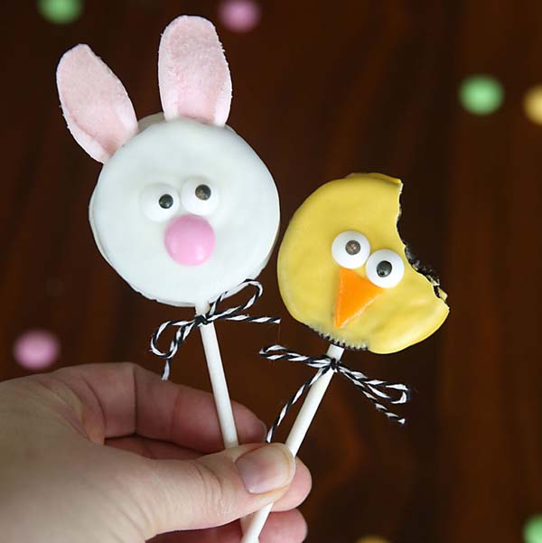 Easy Easter Bunny & Chick Oreo Pops #Easter #treats #recipes #trendypins