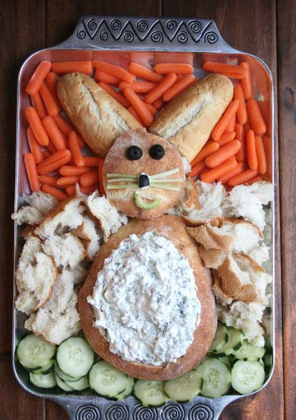 Easy Easter Bunny Dip and Veggies #Easter #appetizers #recipes #trendypins