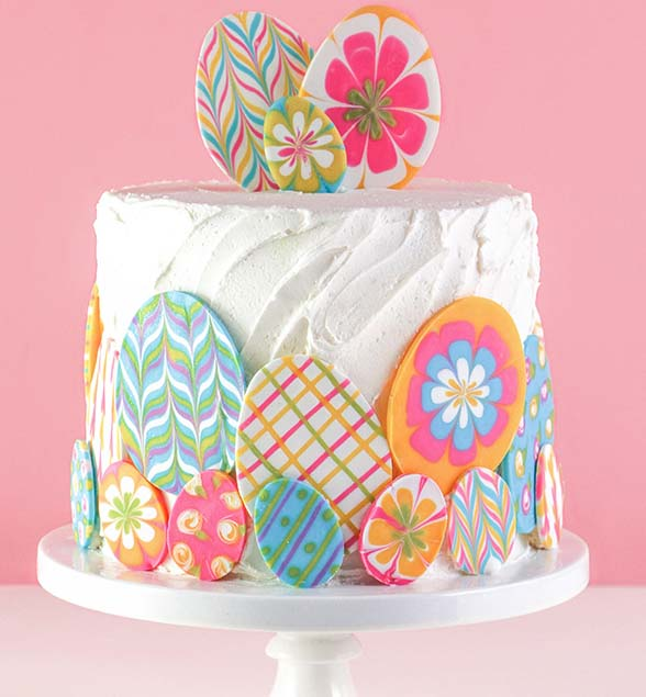 Marbled Chocolate Easter Egg Cake #Easter #cakes #recipes #trendypins