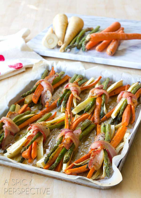 Oven Roasted Vegetable Bundles with Maple Glaze #Easter #dinner #recipes #trendypins