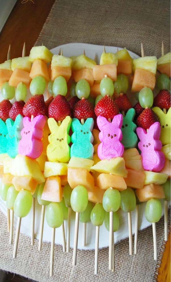 Peep Fruit Kabobs #Easter #appetizers #recipes #trendypins