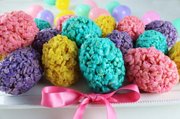 Rice Krispie Easter Eggs #Easter #treats #recipes #trendypins