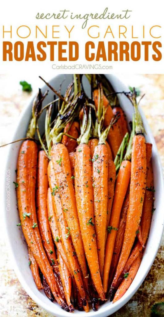 Secret Ingredient Honey Garlic Roasted Carrots #Easter #dinner #recipes #trendypins