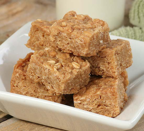 3 Ingredient Peanut Butter Oat Squares #pantry #staple #recipes #trendypins