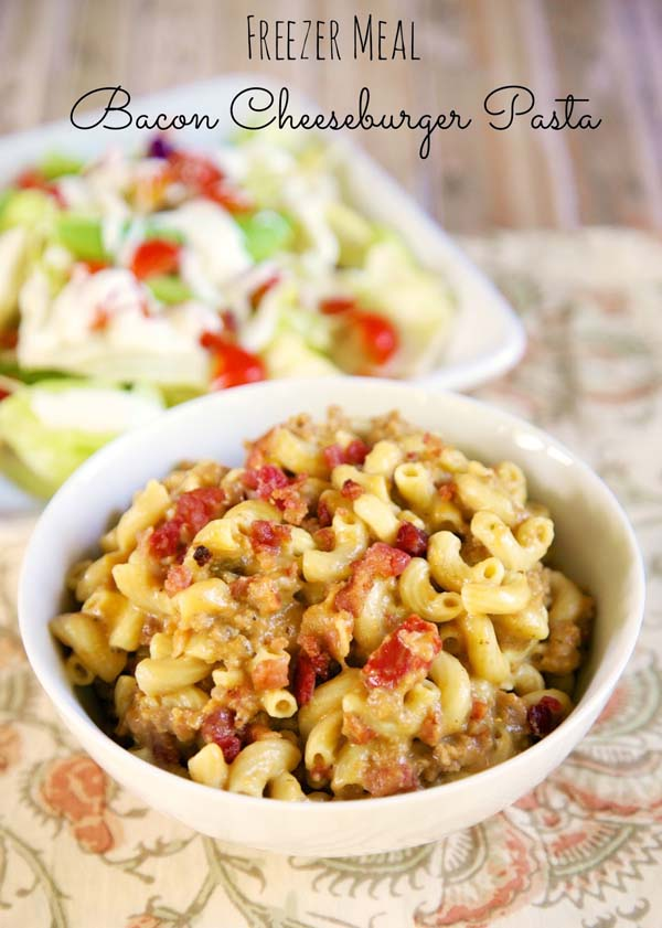 Bacon Cheeseburger Pasta #meal #freezer #recipes #trendypins