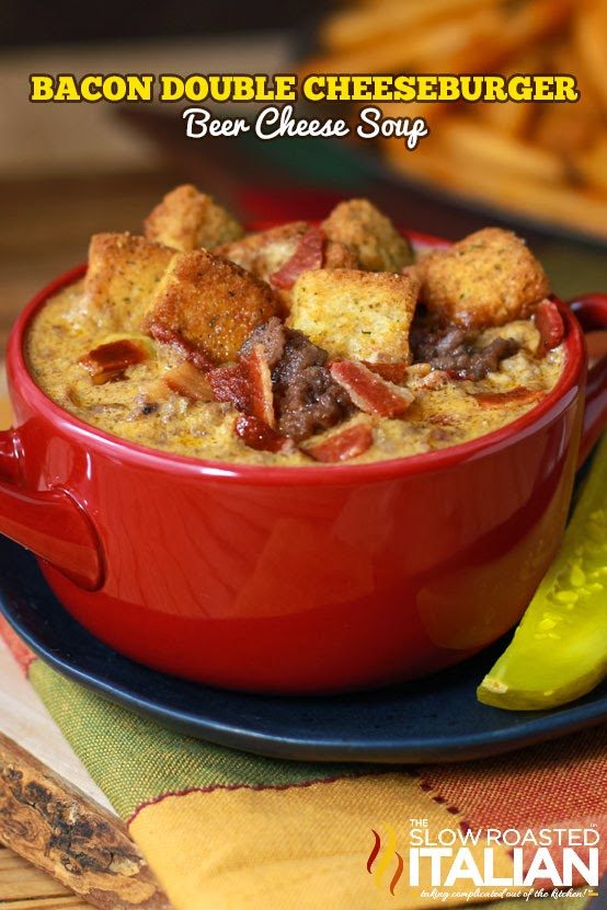 Bacon Double Cheeseburger Beer Cheese Soup #meal #freezer #recipes #trendypins