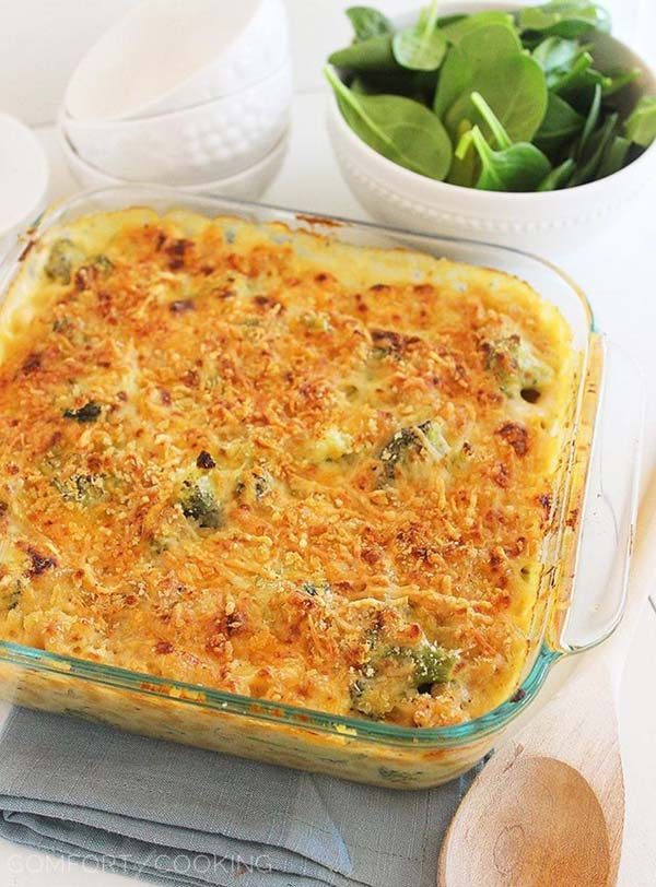 Skinny Baked Broccoli Macaroni and Cheese #meal #freezer #recipes #trendypins
