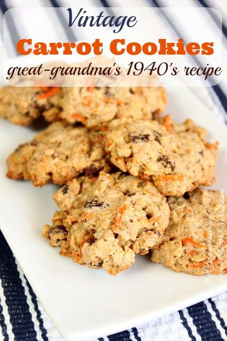 Vintage Carrot Cookies #recipes #depression era #meals #trendypins