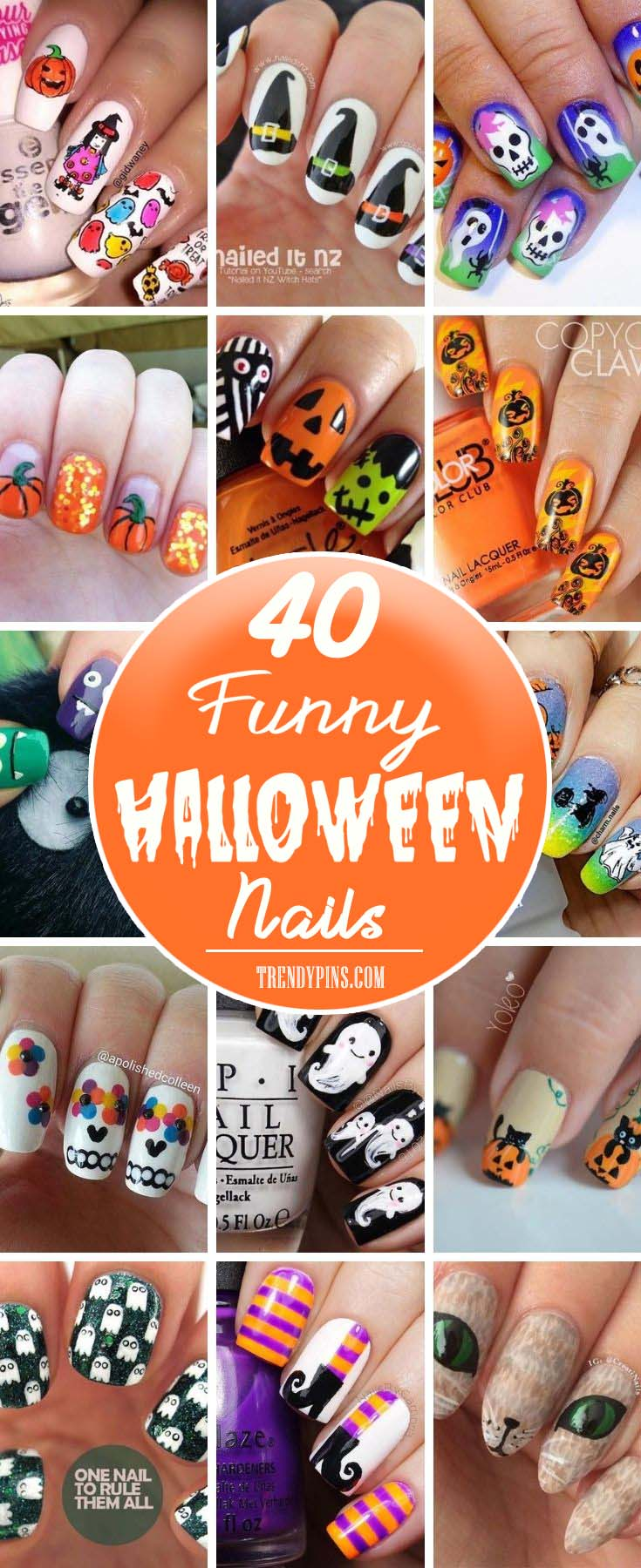 I've got a wonderful collection of 40 funny nail art designs that you can do for yourself. You're going to love these nail art designs and I hope you will share your favorite and how well it matched your Halloween costume! #Halloween #nails #trendypinsI've got a wonderful collection of 40 funny nail art designs that you can do for yourself. You're going to love these nail art designs and I hope you will share your favorite and how well it matched your Halloween costume! #Halloween #nails #trendypins