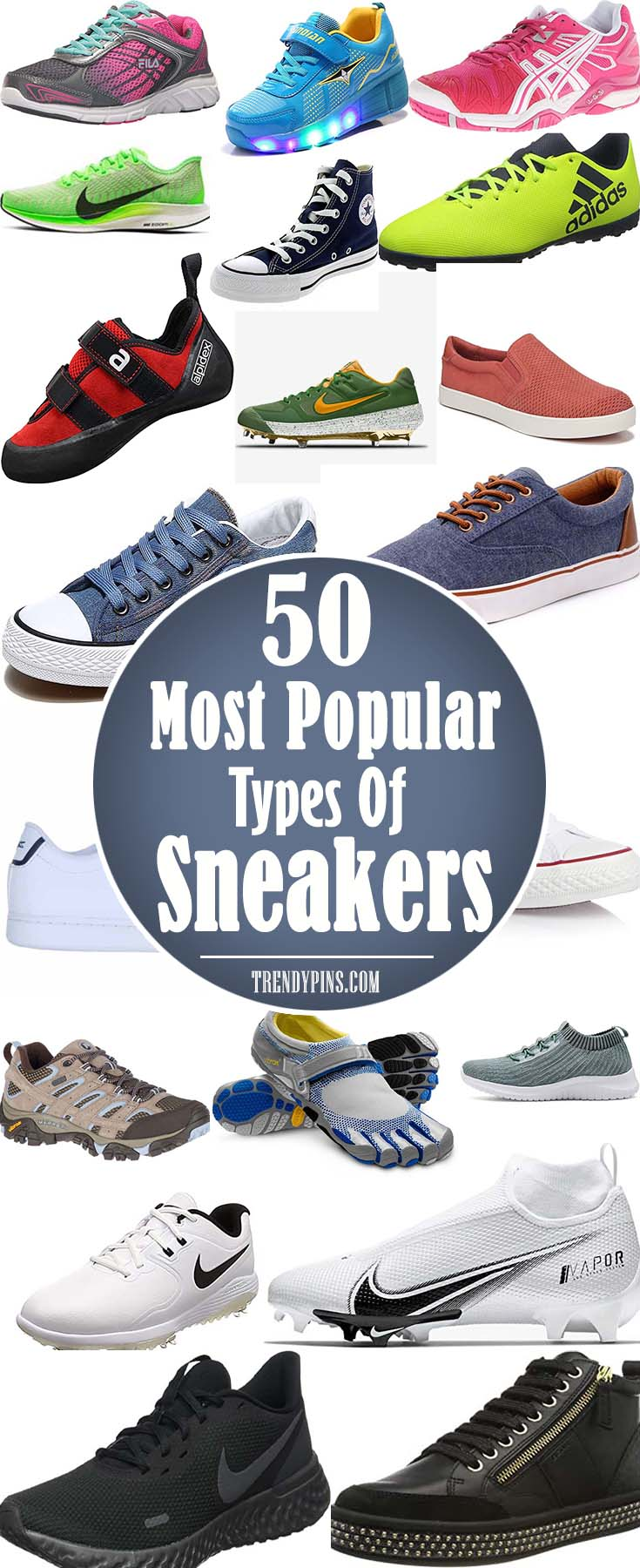 50 Most Popular Types Of Sneakers #sneakers #fashion #trendypins