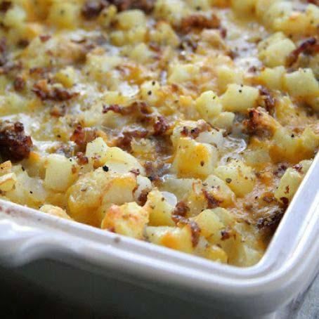 Cheesy Potato Breakfast Casserole #Christmas #breakfast #casserole #trendypins