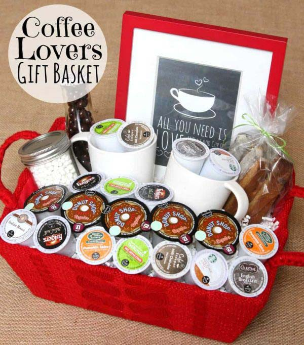 Coffee Lover's Gift Basket #Christmas #food #gifts #trendypins
