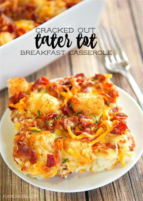 Cracked Out Tater Tot Breakfast Casserole #Christmas #breakfast #casserole #trendypins