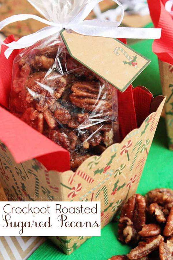 Crockpot Roasted Sugared Pecans #Christmas #food #gifts #trendypins