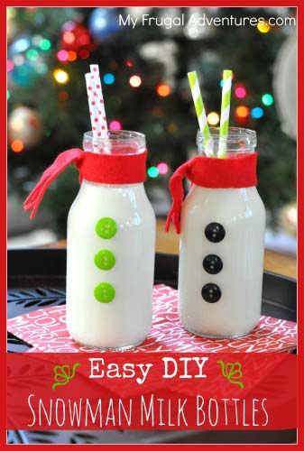 Easy Snowman Milk Bottles #Christmas #breakfast #recipes #trendypins