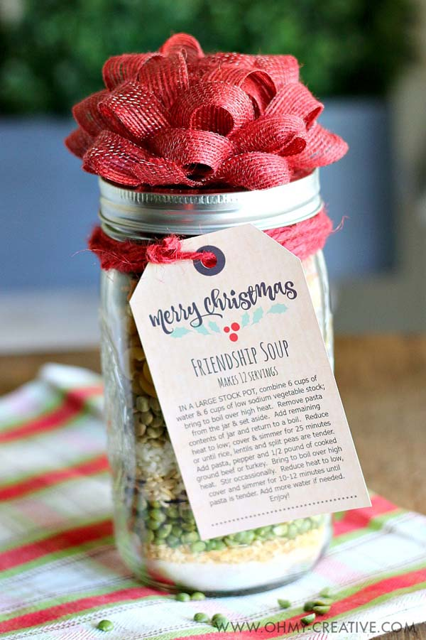 Friendship Soup in Jar #Christmas #food #gifts #trendypins