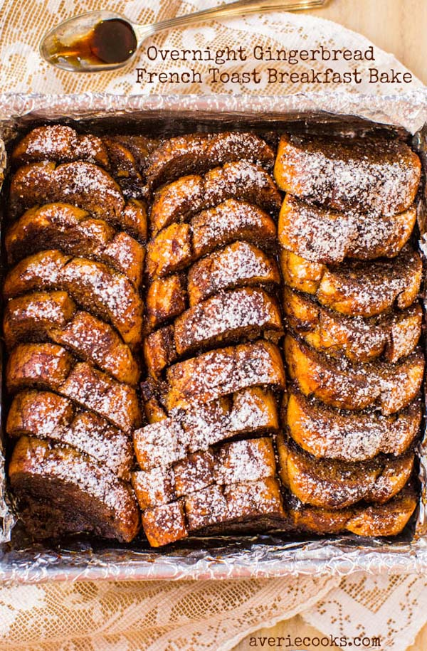 Overnight Gingerbread French Toast Breakfast Bake #Christmas #breakfast #food #trendypins
