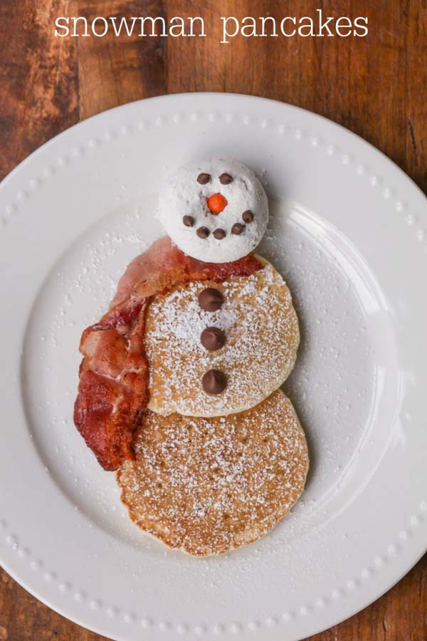 Snowman Pancakes #Christmas #breakfast #recipes #trendypins