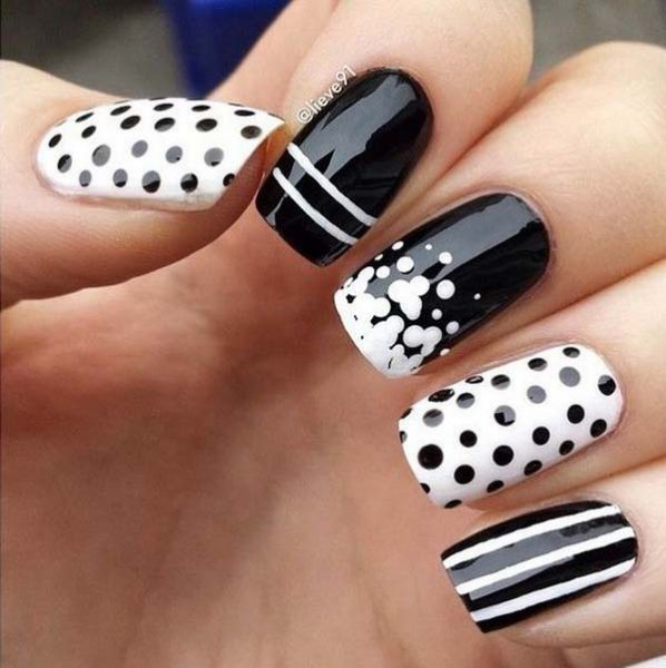 Black and White Nail Art with Polka Dots and Strips #polkadotnails #trendypins