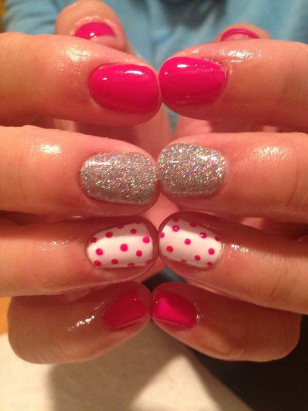 14. Hot Pink and White Polka Dot Nails with Silver Glitter Accents #polkadotnails #trendypins