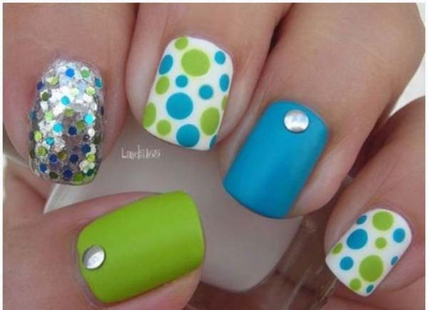 16. Lime Green and Blue Nails with Polka Dots and Sequins #polkadotnails #trendypins