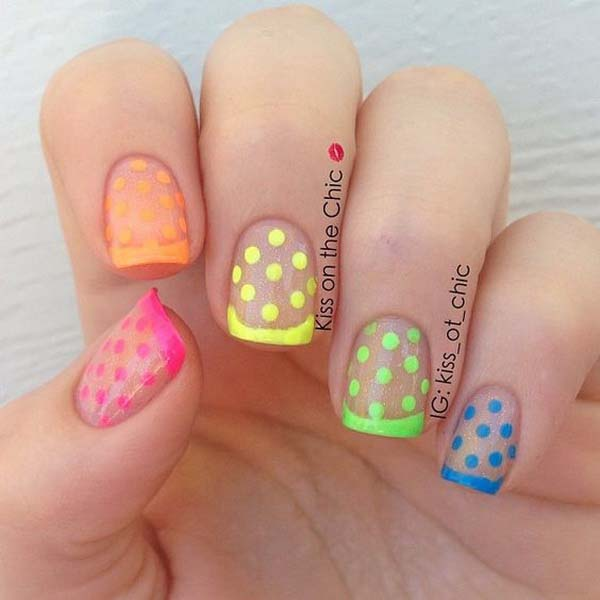 21. Neon French and Polka Dots Over Clear Glitter #polkadotnails #trendypins