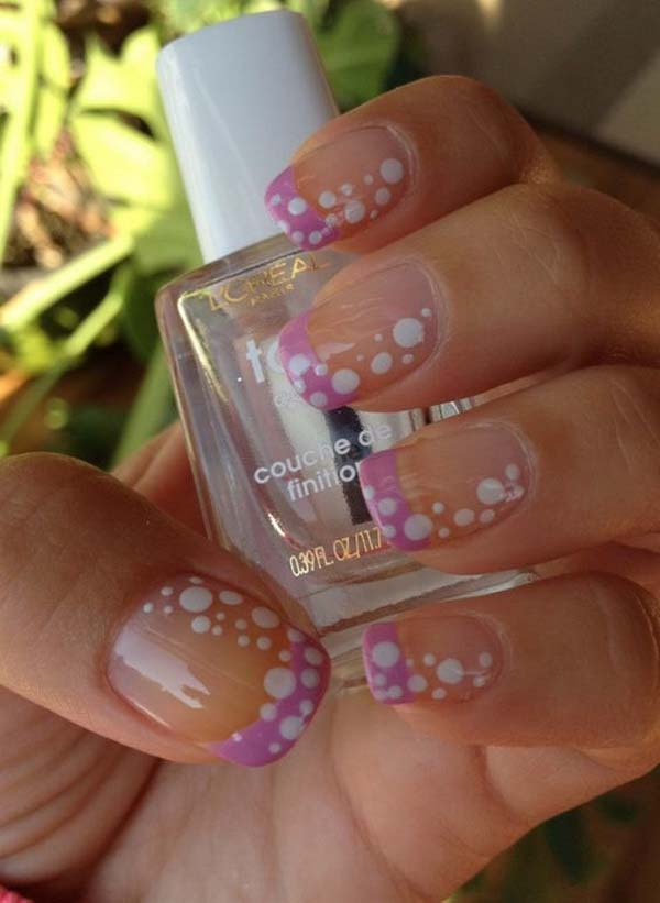 30. Purple Tipped French Nails with Polka Dots #polkadotnails #trendypins